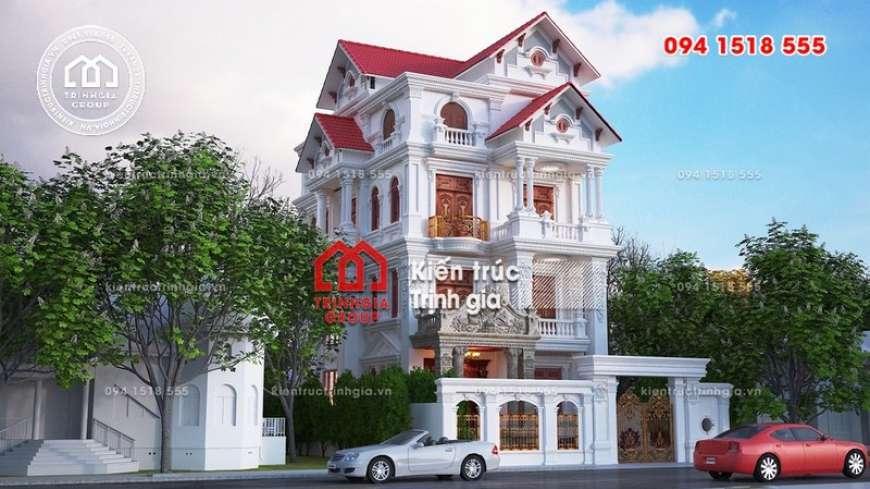 Thiết kế biệt thự 4 tầng phong cách Pháp cổ điển tráng lệ!