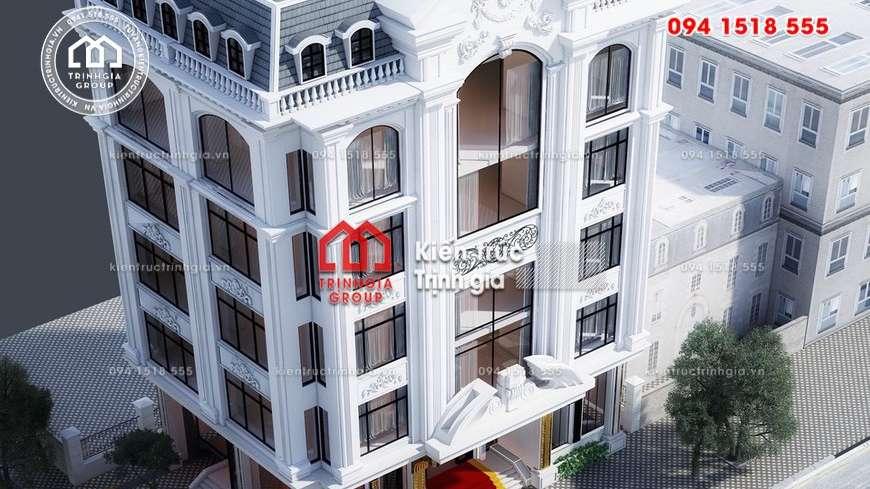 Khách sạn mini 5 tầng 1 tum với diện tích 150m2 đẹp hút mắt