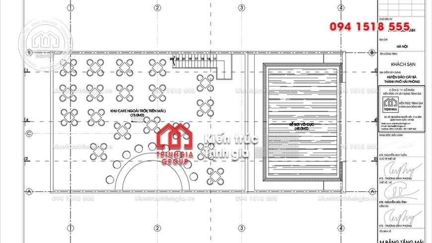 Mẫu khách sạn mini đẹp kiểu pháp với chiều cao 10 tầng 1 tum