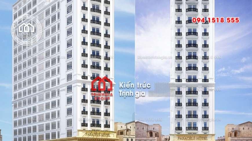 Mẫu khách sạn đẹp 12 tầng ở Đà Nẵng có kiến trúc tân cổ điển