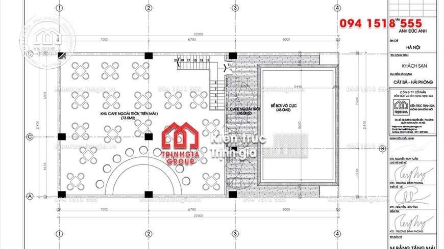 Thiết kế khách sạn 12 tầng diện tích nhỏ có bể bơi trên mái