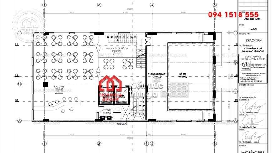 Thiết kế khách sạn kiểu Pháp đẹp 11 tầng có bể bơi trên mái