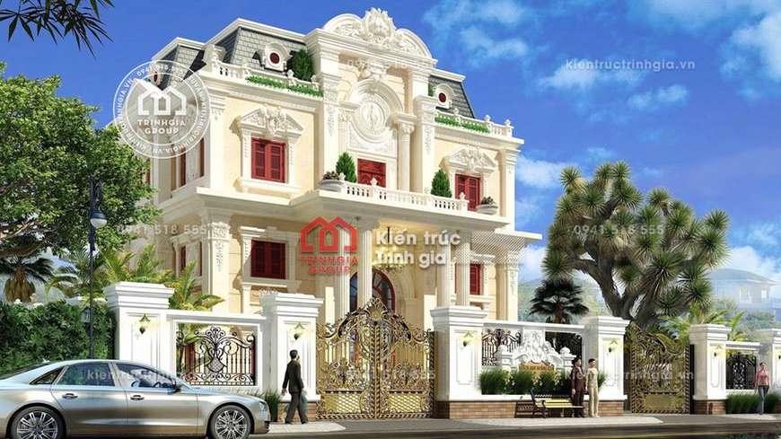 Thiết kế mẫu biệt thự lâu đài 3 tầng cổ điển ở Thái Bình