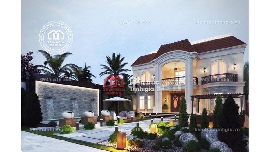 Thiết kế nhà biệt thự lâu đài 2 tầng cổ điển đẹp tại Hà Nội