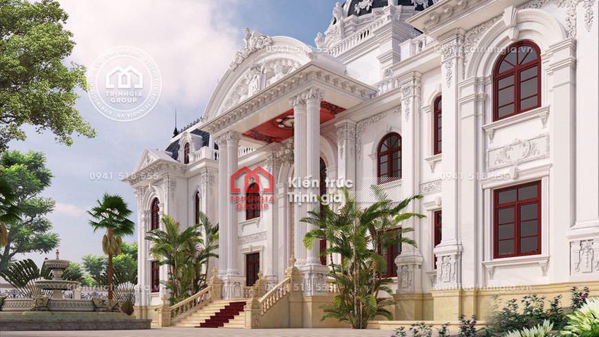Mẫu thiết kế dinh thự 2 tầng tân cổ điển kiến trúc Pháp đẹp