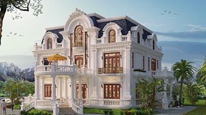 Ngắm mẫu thiết kế biệt thự lâu đài Pháp cổ điển 2 tầng đẹp!