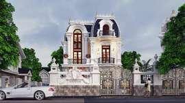 Biệt thự lâu đài Pháp với kiến trúc mái vòm đậm bán cổ điển