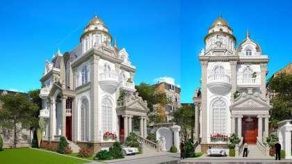 Mẫu thiết kế biệt thự lâu đài 3 tầng phong cách Pháp cổ điển
