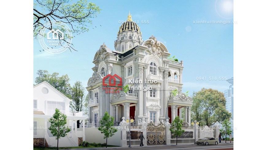 Mẫu biệt thự kiểu lâu đài 3 tầng kiến trúc cổ điển Pháp đẹp