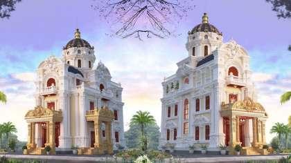 Thêm 1 mẫu thiết kế biệt thự lâu đài 3 tầng 2 mặt tiền đẹp