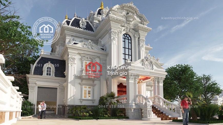 Thiết kế mẫu nhà biệt thự lâu đài 3 tầng cổ điển tại Hà Nội