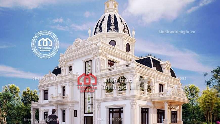 Thiết kế biệt thự lâu đài 3 tầng cổ điển đẹp ở Thái Nguyên