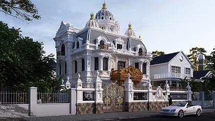 Mẫu thiết kế biệt thự lâu đài Pháp 3 tầng đẹp ở Hải Dương