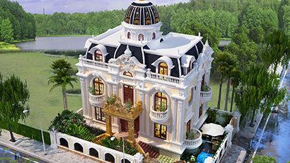 Biệt thự lâu đài Pháp 3 tầng kiến trúc dát vàng đẹp lộng lẫy