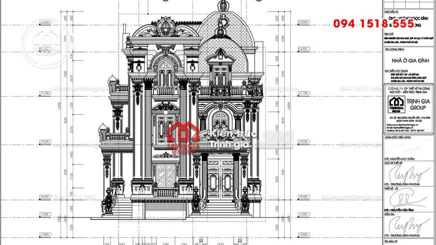 Thiết kế biệt thự lâu đài 3 tầng Pháp đẹp ở Châu Quỳ, Hà Nội