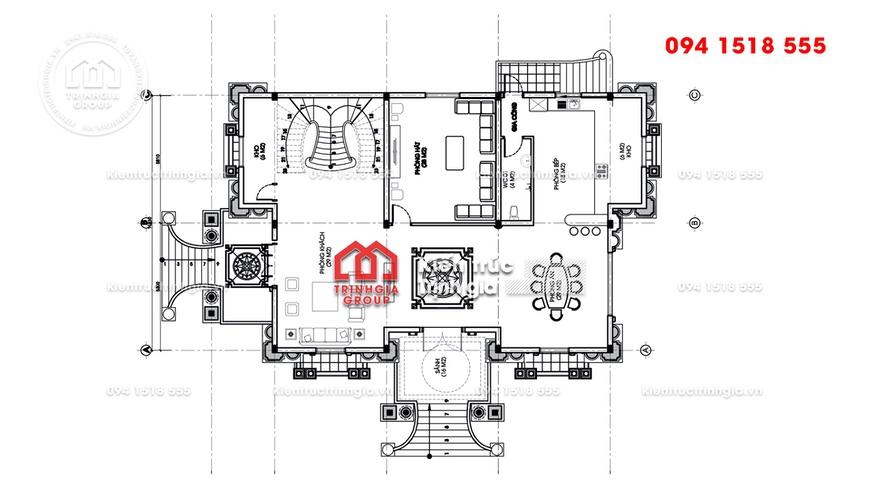 Mẫu nhà Pháp tân cổ điển 3 tầng đẹp miễn chê - Mã số LD3328