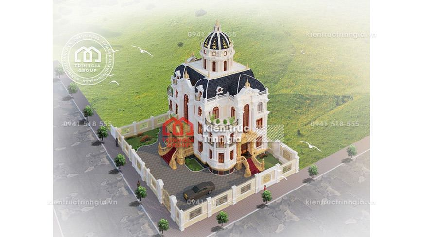 Thiết kế biệt thự lâu đài 4 tầng tân cổ điển đẹp ở Hà Nội