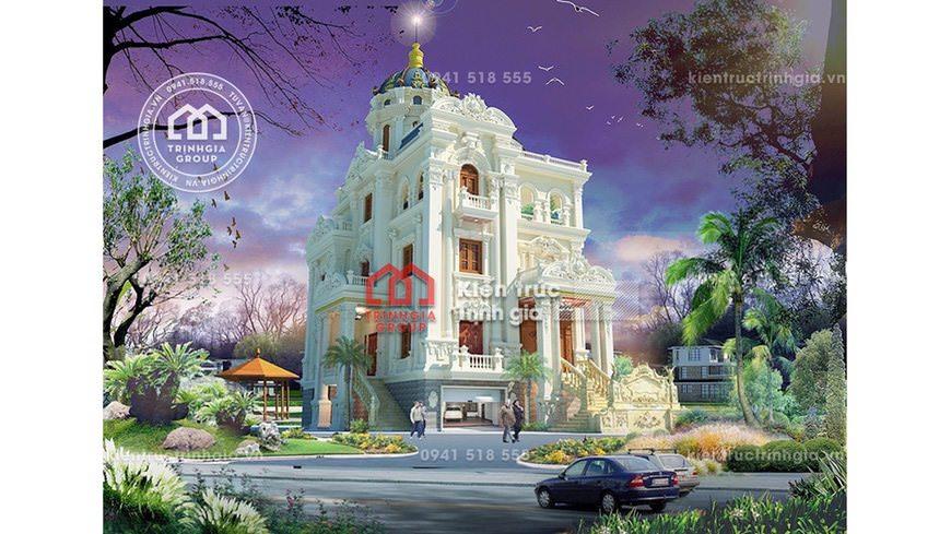 Thi công thiết kế lâu đài 4 tầng cổ điển Pháp đẹp ở Bắc Ninh