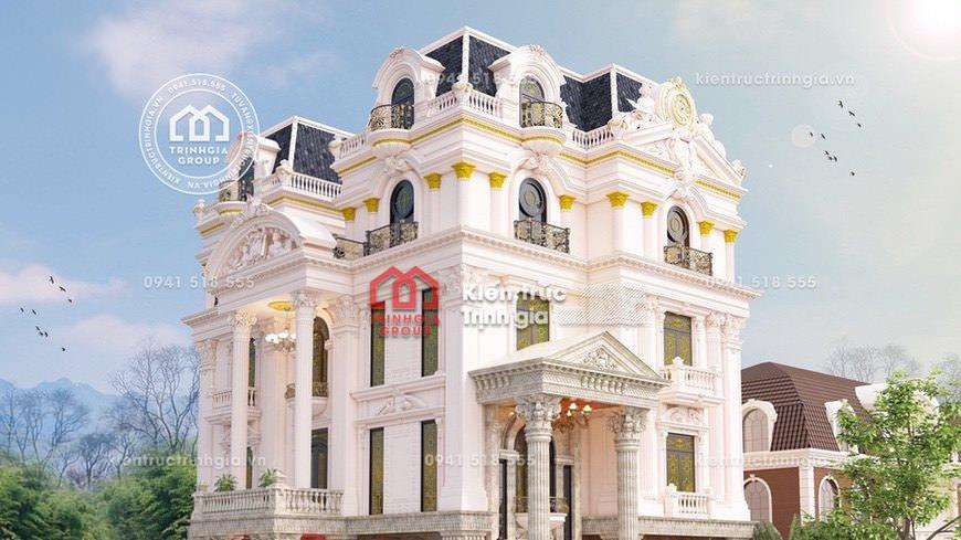 Thiết kế biệt thự lâu đài 4 tầng tân cổ điển đẹp của Châu Âu