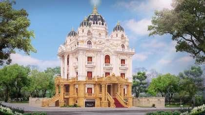 Thiết kế mẫu và thi công lâu đài 5 tầng tân cổ điển đẹp ở HN