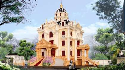 Biệt thự kiểu lâu đài 4 tầng kiến trúc cổ điển Pháp đẹp