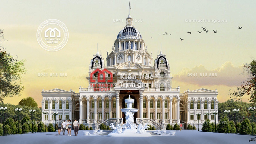 Thiết kế mẫu lâu đài 4 tầng tân cổ điển đẹp ở Bình Thuận