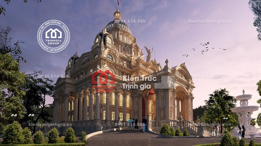 Mẫu thiết kế lâu đài Pháp 4 tầng cổ điển - Siêu dinh thự