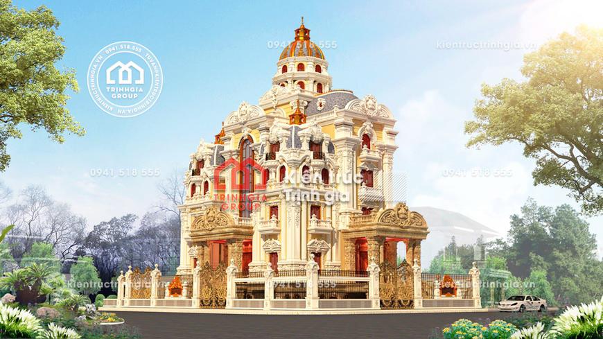 Thiết kế lâu đài 4 tầng 1 chóp kiến trúc Pháp cổ điển đẹp!