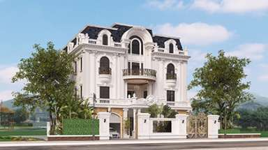 Mẫu nhà lâu đài kết hợp văn phòng đẹp với kiến trúc cổ điển