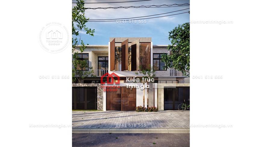 Mẫu thiết kế mặt tiền nhà phố 2 tầng đẹp, hiện đại ở Đà Nẵng