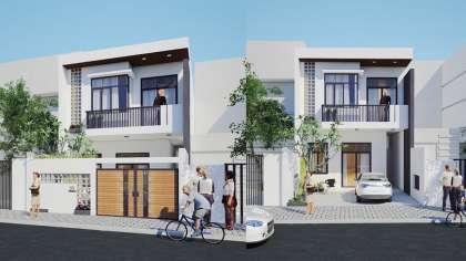 Bản vẽ thiết kế mẫu nhà phố 2 tầng đẹp hiện đại ở Bến Tre