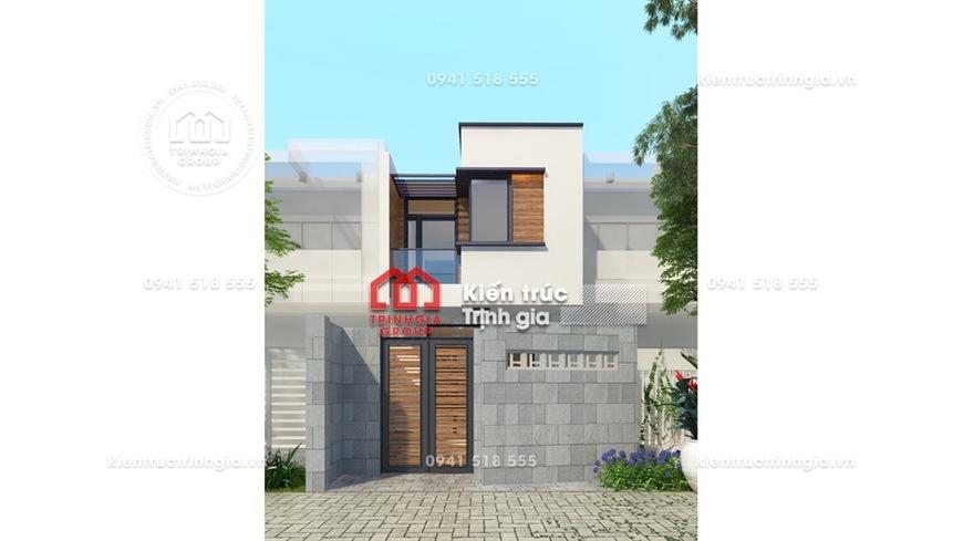 Thiết kế nhà phố 2 tầng 1 tum mái thái hiện đại ở Trà Vinh