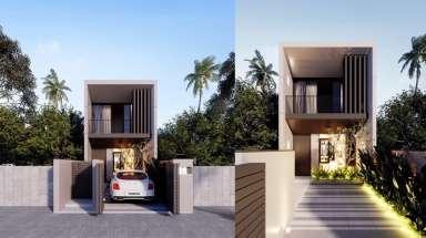 Mẫu thiết kế nhà phố 2 tầng đẹp mái thái kiến trúc hiện đại