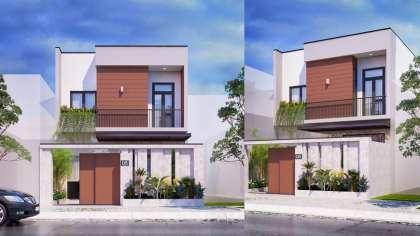 Xem ngay bản vẽ thiết kế nhà phố 2 tầng mái bằng hiện đại!