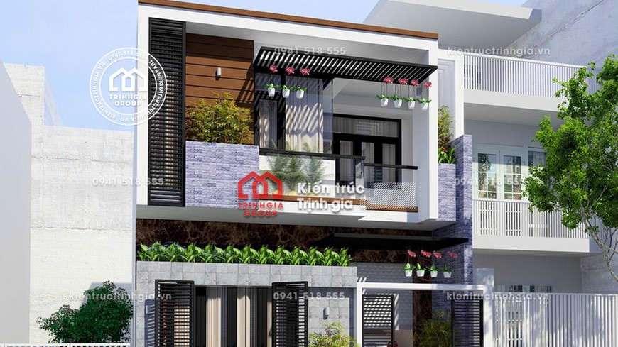 Chiêm ngưỡng thiết kế nhà phố 2 tầng 4x20m mái bằng hiện đại