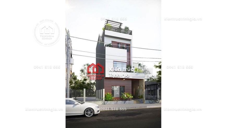 Bản vẽ mẫu thiết kế nhà phố 3 tầng hiện đại và phỗi cảnh 3D