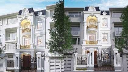 Thiết kế nhà mặt phố kinh doanh 3 tầng kiểu Pháp ở Hà Nội