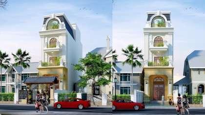 Mẫu thiết kế nhà phố 3 tầng ovan vòm với kiến trúc cổ điển