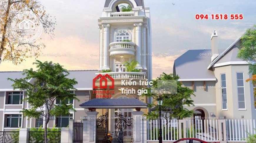 Thiết kế mẫu nhà phố mặt tiền 5m phong cách kiến trúc Pháp