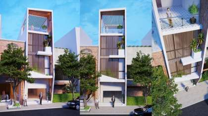 Bản vẽ mẫu thiết kế nhà góc phố kết hợp kinh doanh hiện đại
