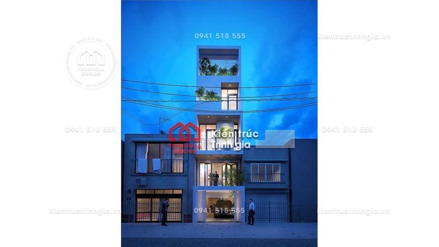 Thiết kế nhà phố hai mặt tiền 5 tầng kiến trúc hiện đại đẹp