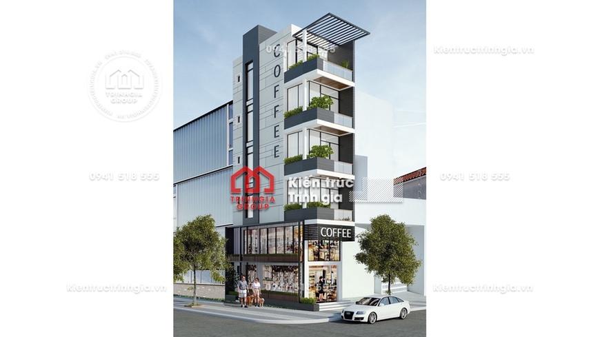 Thiết kế nhà lô góc đẹp 6 tầng 2 mặt tiền kết hợp kinh doanh