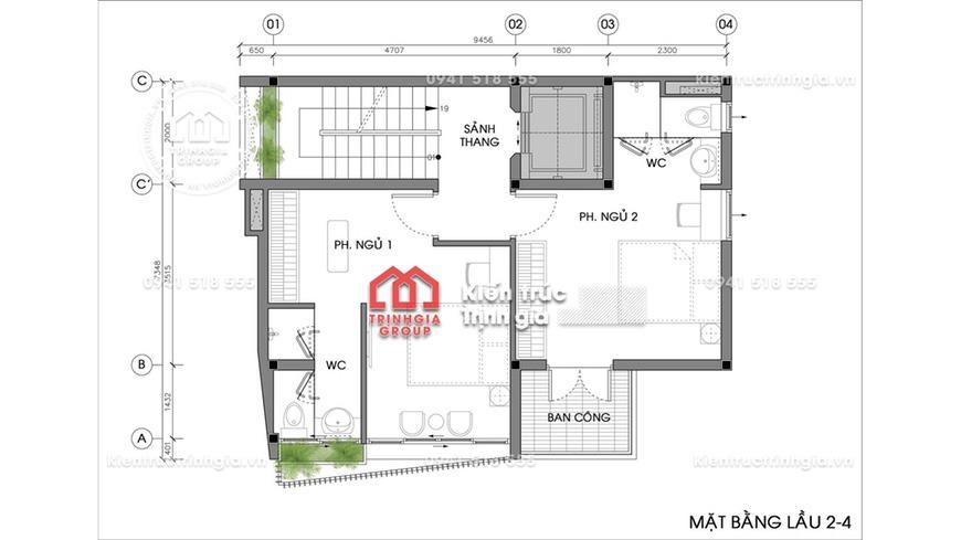 Thiết kế nhà phố có thang máy kết hợp kinh doanh khách sạn