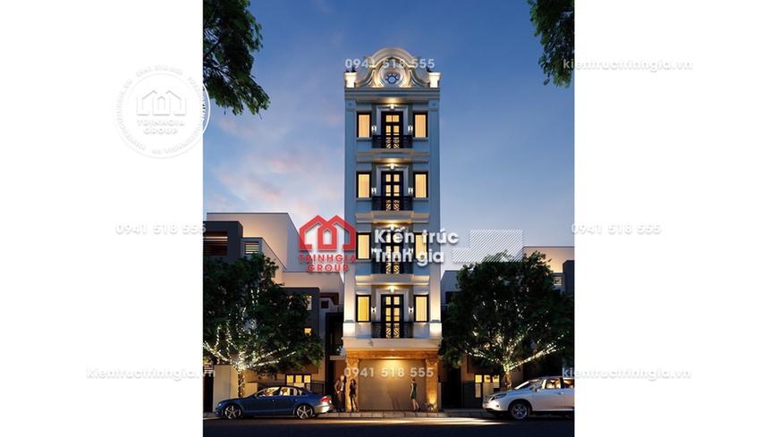 Mẫu thiết kế nhà phố 5x11m 4 tầng kiến trúc tân cổ điển đẹp!