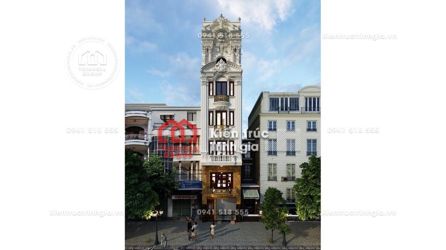 Phá cách kiến trúc Pháp trong bản vẽ thiết kế nhà phố 5x20m