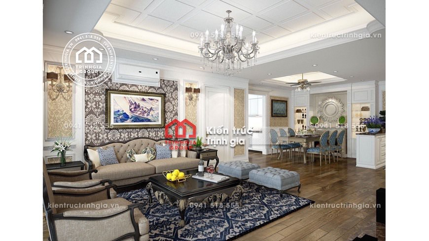 Thiết kế nội thất biệt thự tân cổ điển ở Vinhomes Riverside