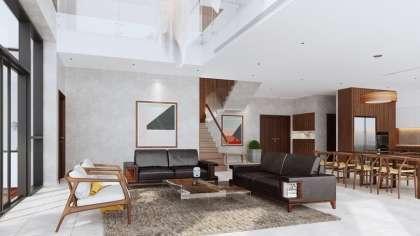 Thiết kế nội thất căn hộ PENTHOUSE đẹp sang với gỗ óc chó