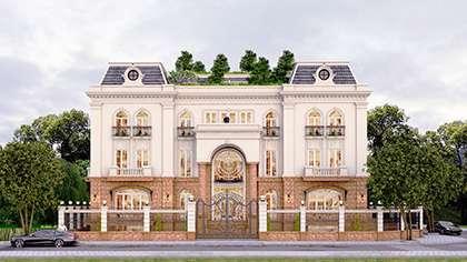 Thiết kế văn phòng kết hợp nhà để ở kiến trúc kiểu Pháp đẹp